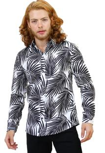 Camisa Slim Victor Deniro Palm Black
