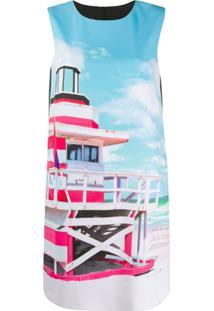 Boutique Moschino Vestido Reto Com Estampa Gráfica - Preto