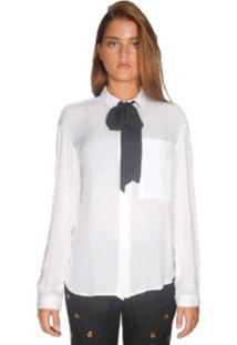Camisa Chocoleite Manga Longa Faixa Lisa Branco