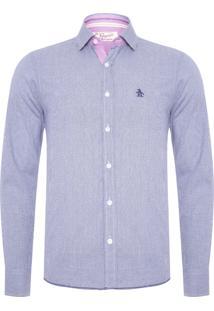 Camisa Masculina Adulto Logo - Azul