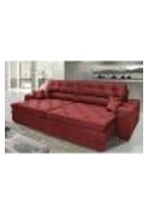 Sofá Austin 2,42M Retrátil, Reclinável Com Molas No Assento E Almofadas, Tecido Suede Vermelho