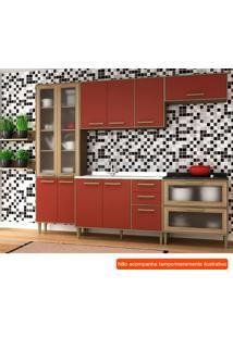 Cozinha Compacta Vitória 10 Pt 5 Gv Vermelha E Avelã