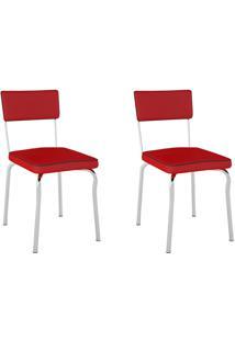 Kit 2 Cadeiras Retrô Pc13 Assento/Encosto Vinil Vermelho - Pozza
