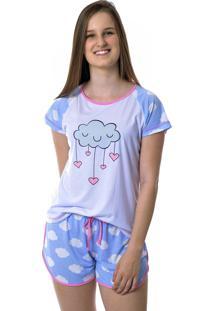 Short Doll Manga Curta Chuva De Amor - Mania Pijamas - Pijama Feminino Adulto Curto