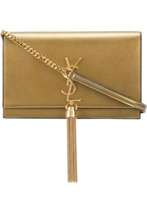 Saint Laurent Bolsa Transversal Kate De Couro Com Tassel - Dourado
