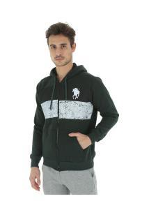 Jaqueta De Moletom Com Capuz Polo Us 18503 - Masculina - Verde Escuro
