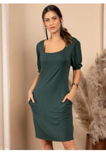 Vestido Verde Com Decote Quadrado