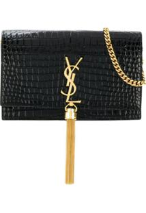 Saint Laurent Bolsa Kate Monogram Com Tassel - Preto