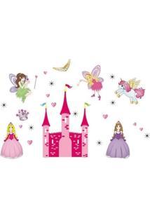 Adesivo De Parede Divanet Princesas Colorido Rosa