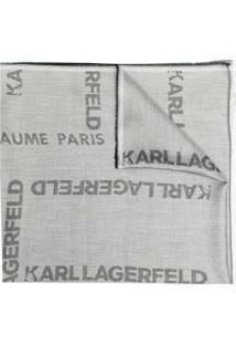 Karl Lagerfeld Cachecol De Jacquard Com Logo - Cinza