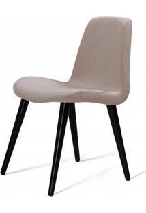 Cadeira Estofada Jacob Lona Bege Com Pes Palito Preto 52Cm - 61244 - Sun House