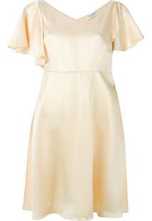 Saint Laurent Vestido Evasê De Seda - Amarelo
