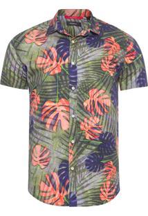 Camisa Masculina Verão Folhagem - Verde