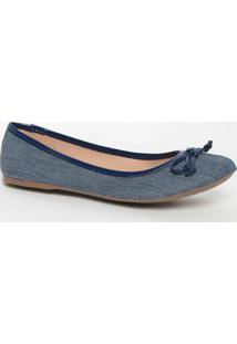 Sapatilha Jeans Com Laço- Azul Escuroloucos E Santos