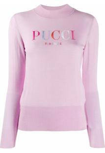 Emilio Pucci Suéter Com Logo Bordado - Rosa
