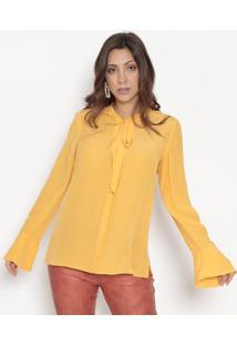 Camisa Em Seda Com Amarraã§Ã£O- Amarela- Bobstorebobstore