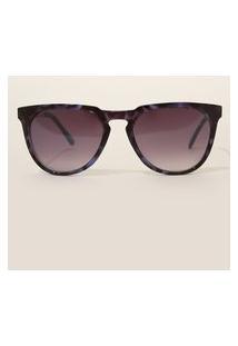 Óculos De Sol Feminino Redondo Oneself Tartaruga