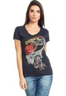 Camiseta Feminina Básica Estampada Bossa - Feminino-Preto