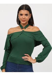 Blusa Frente ÚNica Canelada- Verde- Tritontriton
