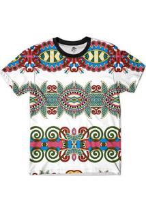 Camiseta Bsc Tribal Reflexo Full Print Masculina - Masculino-Branco