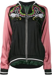 Diesel Embellished Bomber Jacket In Satin - Preto