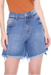 Bermuda Jeans Forum Reta Barra Desfiada Azul