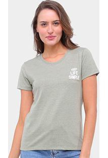 Camiseta Lecimar Keep Life Simple Feminina - Feminino-Verde Escuro