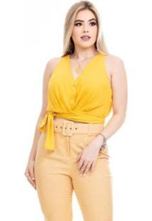 Blusa Clara Arruda Laço Feminina - Feminino-Amarelo