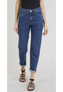 Calça Jeans Feminina Mom Pants Azul Escuro