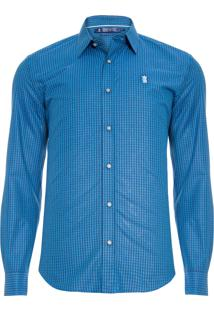 Camisa Masculina Vichy Dark Blue - Azul
