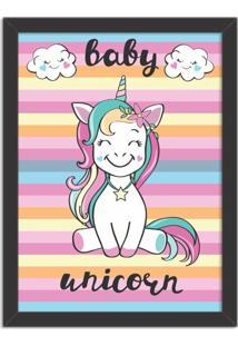 Quadro Decorativo Infantil Bebê Unicórnio Colorido Preto - Grande