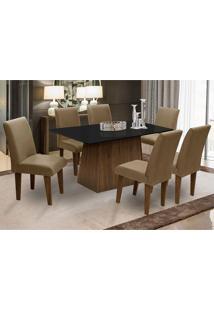 Conjunto De Mesa Para Sala De Jantar Com 6 Cadeira Florença Fit - Dobue - Castanho / Preto / Castor