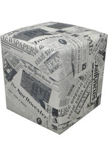 Puff Decorativo Dado Quadrado Linho Estampado Jornal D19 - D'Rossi