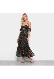 Vestido Longo Farm Lurex Estampado - Feminino-Preto