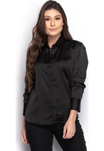 Camisa Camisete Social Feminina Seda Manga Longa Casual
