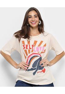 Camiseta Cantão Estampa Self Love Feminina - Feminino-Bege+Rosa