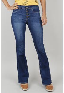 c6aaa9236 CEA. Calça Jeans Feminina Boot Cut Com Botões Azul Escuro