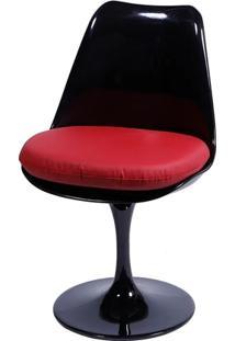 Cadeira Saarinen Tulipa Preta Assento Vermelho