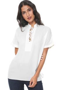 Blusa Lança Perfume Lace Up Off-White