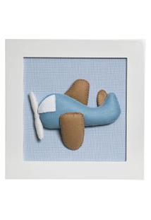 Quadro Decorativo Aviáo Quarto Bebê Infantil Menino Potinho De Mel Azul