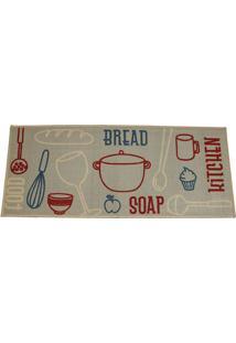 Tapete Cleankasa Bread- Bege & Vermelho- 120X50Cm