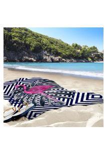 Toalha De Praia / Banho Flamingo Geométrico Único