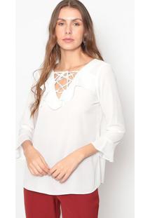 Blusa Com Babado- Off White- Seduã§Ã£O Dressseduã§Ã£O Dress