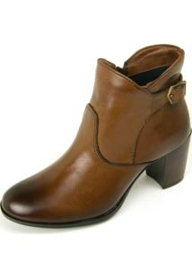 Bota Ankle Boot Dhatz Não Possui Cadarço Tabaco - Kanui