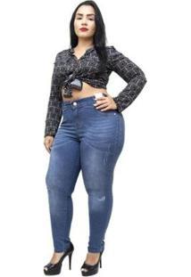 1f79a0d25 ... Calça Jeans Credencial Plus Size Skinny Jakelini Feminina - Feminino -Azul