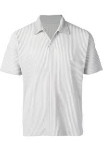 Homme Plissé Issey Miyake Camisa Polo Canelada - Cinza