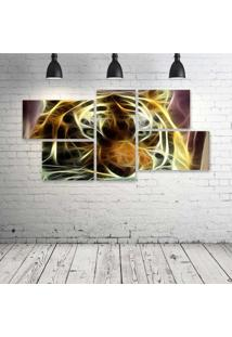 Quadro Decorativo - Tiger-Neon-Face - Composto De 5 Quadros