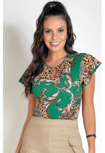 Body Animal Print Com Gota No Decote