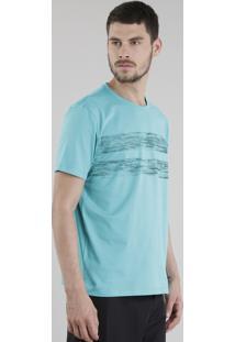 Camiseta Com Listra Verde Água