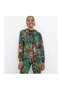 Jaqueta Estampada Com Bolsos E Capuz Em Moletom Comfy | Blue Steel | Verde | P